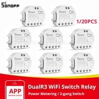SONOFF DualR3 Wifi inteligente interruptor MINI DIY dos Control DE vía Monitor de potencia 2 relé de voz trabaja con Alexa de Google