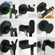 Stainless Steel Single Robe Hook Wall Mounted Towel Hook Black Painted Clothes Hook Bathroom Hardware