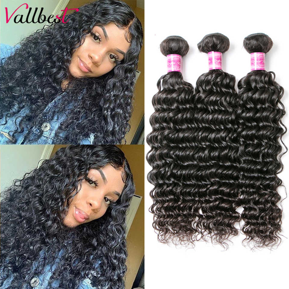 Deep Wave Bundles 100% Human Hair Extensions 1/3/4 Bundles Deals Brazilian Hair Weave Bundles 100g/Piece Vallbest Remy Hair