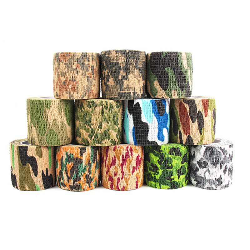 12 Style Self-adhesive Non-woven Camouflage Wrap Outdoor Hunting Shooting Tool Camouflage Stealth Tape Waterproof Durable Tape