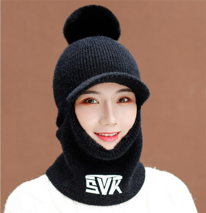 2019 Knit Short Plush Hooded Scarf Women Hat And Scarf Woman Winter Warm Protection Ear Pom Pom Letter Cap Scarves Lady Brim Hat