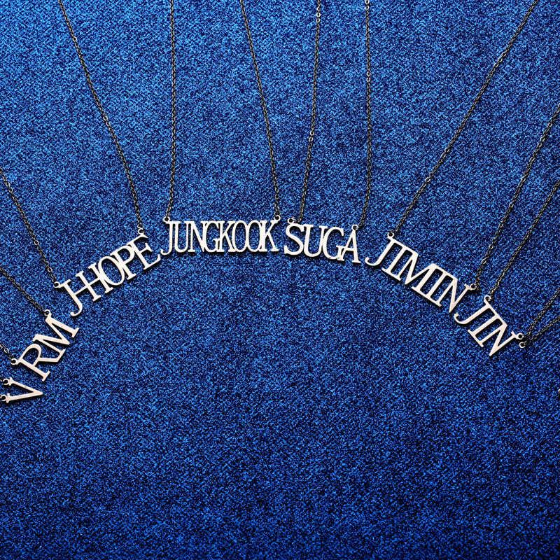 Kpop bangtan ボーイズ idol 名ネックレス titanium 鋼のネックレス装飾ファンのギフト用のコレクション bangtan ボーイズ kpop 用品