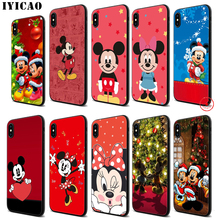 IYICAO Mickey Minnie Mouse Soft Black Silicone Case for iPhone 11 Pro Xr Xs Max X or 10 8 7 6 6S Plus 5 5S SE lavaza cartoon mickey mouse couple silicone case for iphone 5 5s 6 6s plus 7 8 11 pro x xs max xr