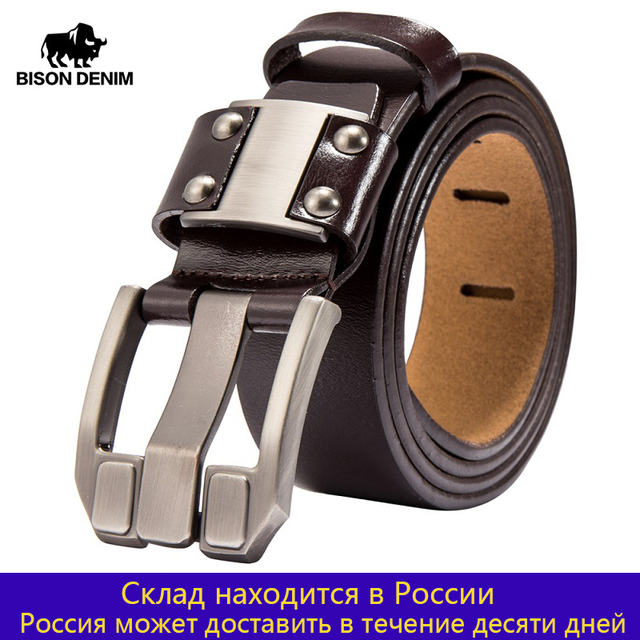 BISON DENIM Mens Jeans Belts Pin Buckle Cowhide Genuine Leather Belts Vintage Brand Waistband Strap Belt For Men Male N71350