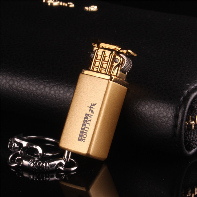 Mini Compact Keychain Lighter Jet Flint Lighter Butane Gas Inflated U Disk Free Fire Gasoline Lighter Metal Funny Toys No Gas 3