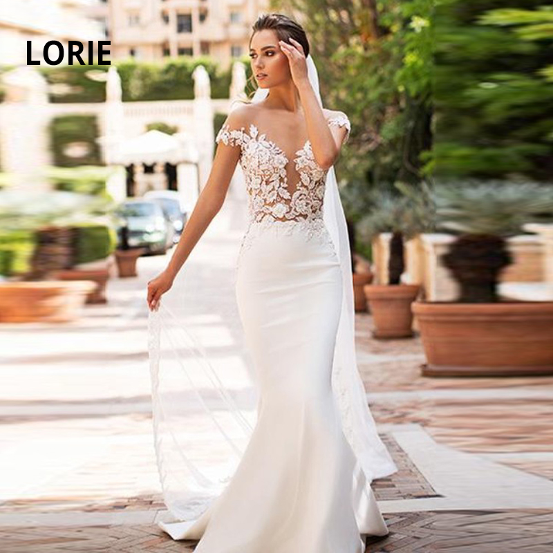 LORIE Lace Appliques Mermaid Wedding Back Illusion Off The Shoulder Dresses Soft Satin Bridal Dress 2019 New Wedding Gowns
