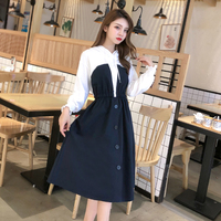 2019 New Autumn Fashion Women dress Patchwork Small Clear Off Two Pieces Fleece Dresses Sapphire Apricot 8305