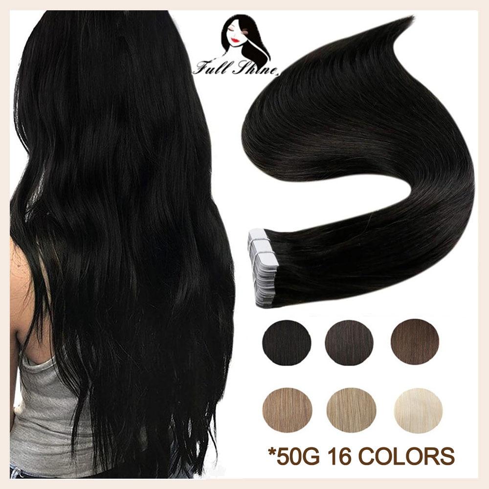 Полный блеск ленты в Remy человеческие волосы для наращивания чистый цвет Блонд натуральный 50 г кожи уток клей на для салона высокое качество