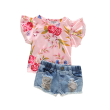 1-4T baby girl pink floral clothing set top and shorts kids sets girl toddler clothes ensemble enfant fille summer girl outfit стоимость