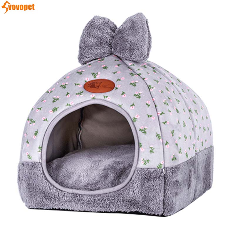 Pet Dog Cat House Tent Winter Warm Cat Cave Bed House Soft Cozy Sleeping Nest Bed Kennel Mat For Small Medium Dog Kitten Puppy