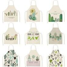 Delantal de limpieza de lino y algodón con estampado de Cactus, plantas, hojas verdes, cocina, hogar, tienda de horneado