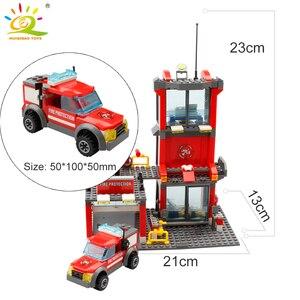 Image 4 - HUIQIBAO 300 sztuk miasto straż pożarna klocki strażak człowiek figurki ciężarówka budowa samochodu cegły zabawki dla dzieci prezent