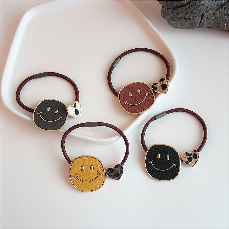 Korea Personality Cute Leather Alloy Smiley Leopard Love Rubber Band Hair Rope Fashion Sweet Girl Women's Hair Accessories
