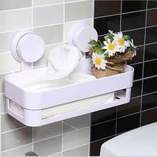 Nova prateleira do banheiro ventosas rack de parede com 2 ventosas plástico chuveiro caddy organizador titular bandeja com cozinha loção armazenamento