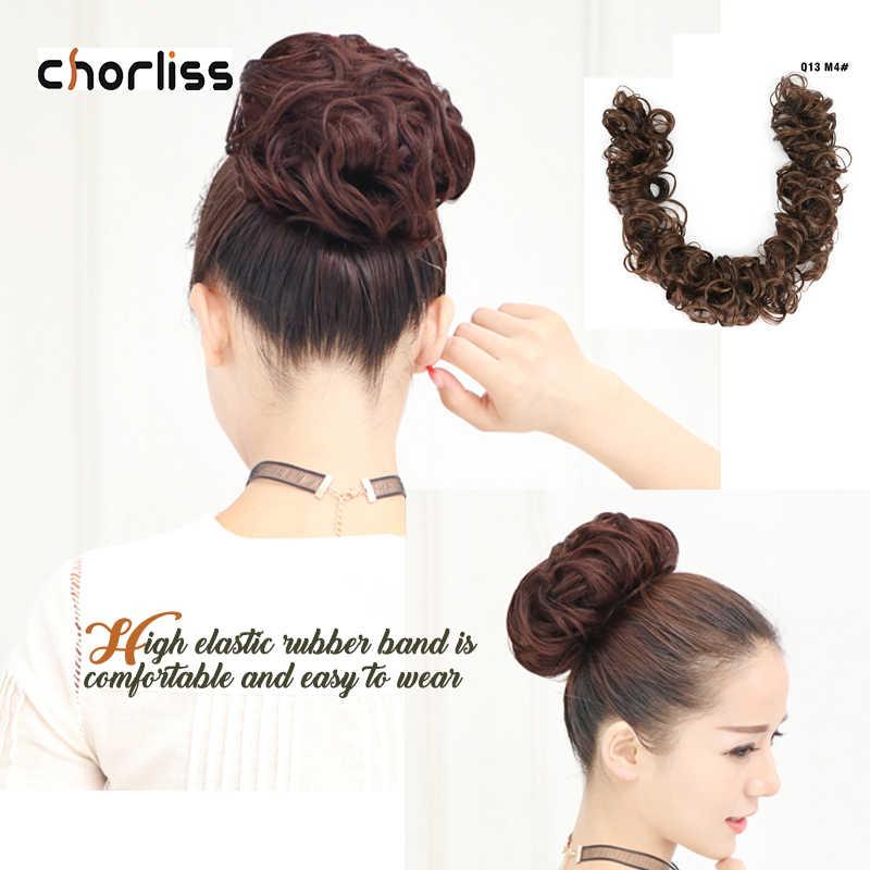 Mujeres moño rizado Chignon banda elástica moño sintético Clip en extensiones de cabello negro marrón de alta temperatura de fibra peluquín falso