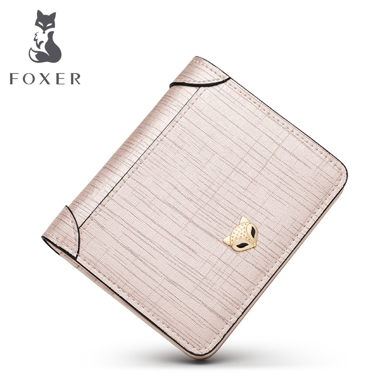 Foxer Short Wallet Coin-Pocket Small Girl Luxury Card-Holder Money-Purse Split Women