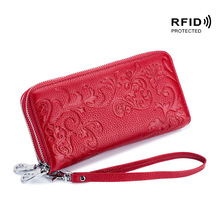 Double Zipper Layers Women Clutch Wallet Genuine Leather RFID Wrist Strap Purse Women's Cell Phone Pouch Coin Bag Card Case