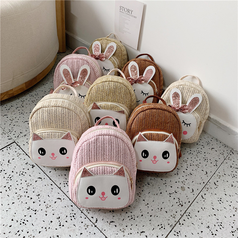 Korean-style Children Small Bookbag 2019 New Style Summer Grass Woven Backpack Mini Men And Women Child Baby Backpack