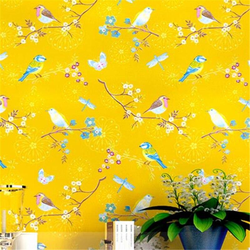 Wellyu papier peint américain jardin fleurs et petit frais papier peint à fleurs bleu jaune simple moderne salon mur chambre