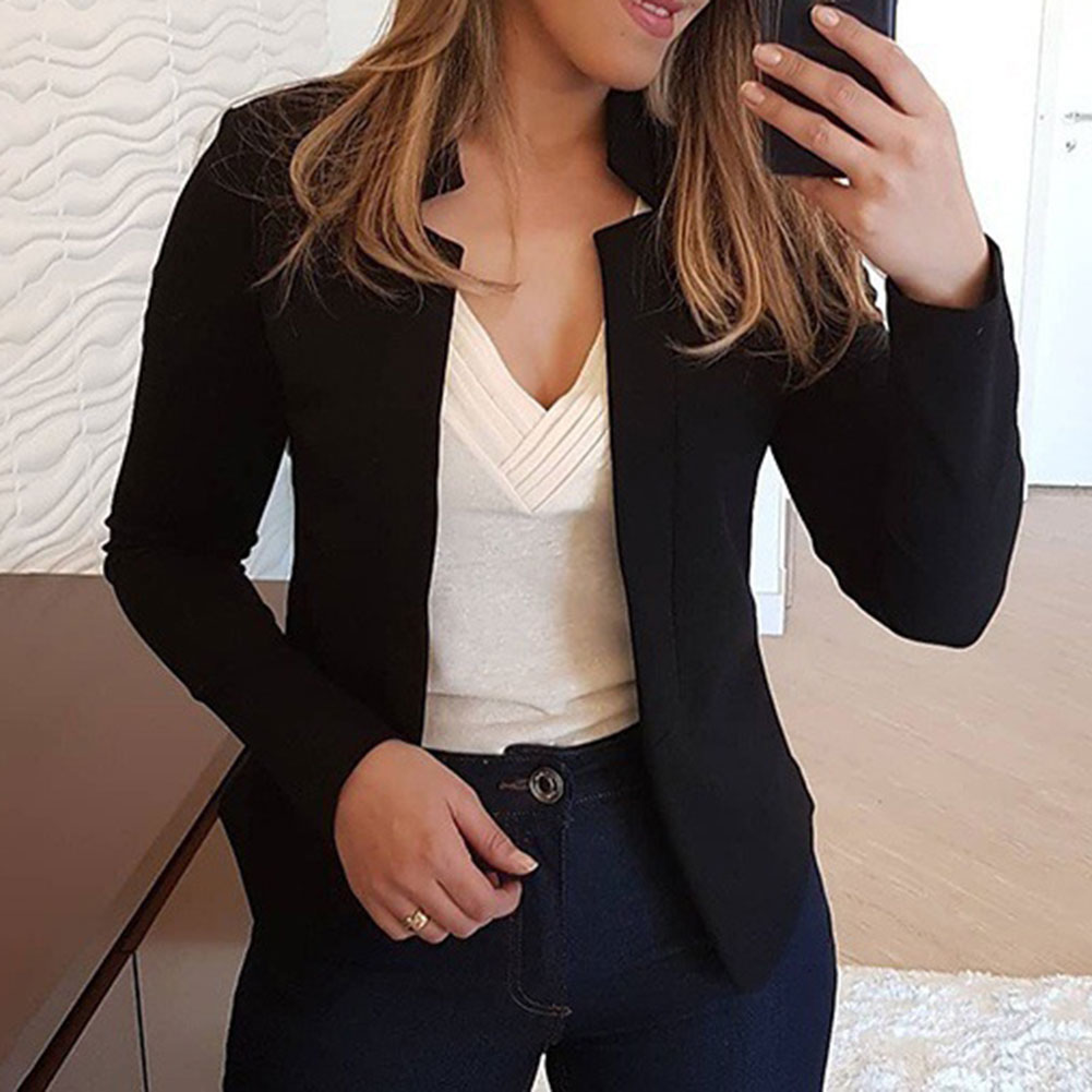 Women Blazer Thin Long Sleeve Blazer Solid Color Office Lady Suit Coat NYZ Shop