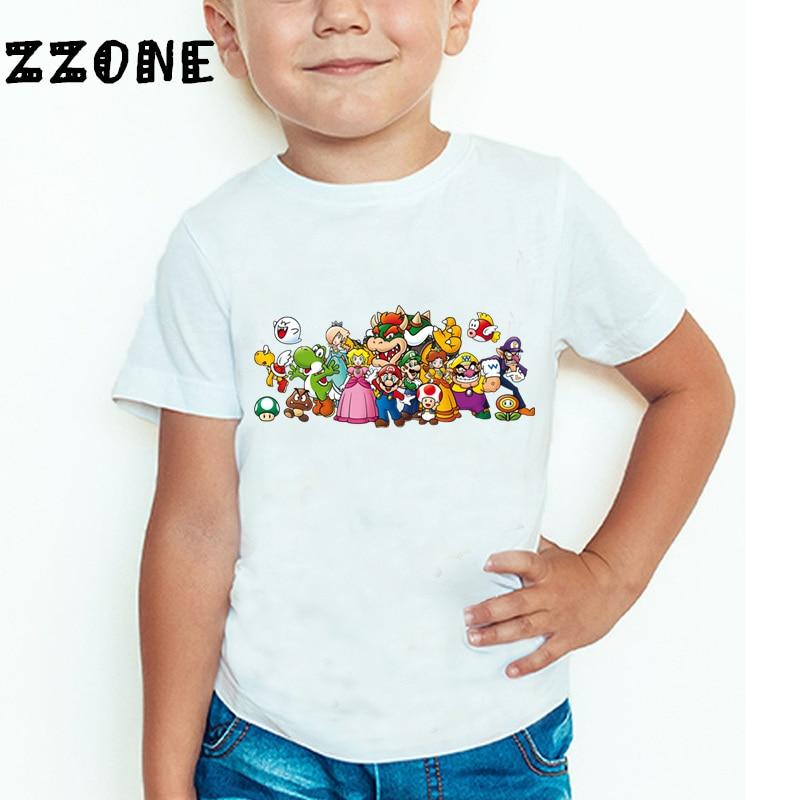 Baby Boys and Girls The Super Mario Bros Game Cartoon Fashion T shirt Children Short Sleeve Summer Tops Kids Clothes 4