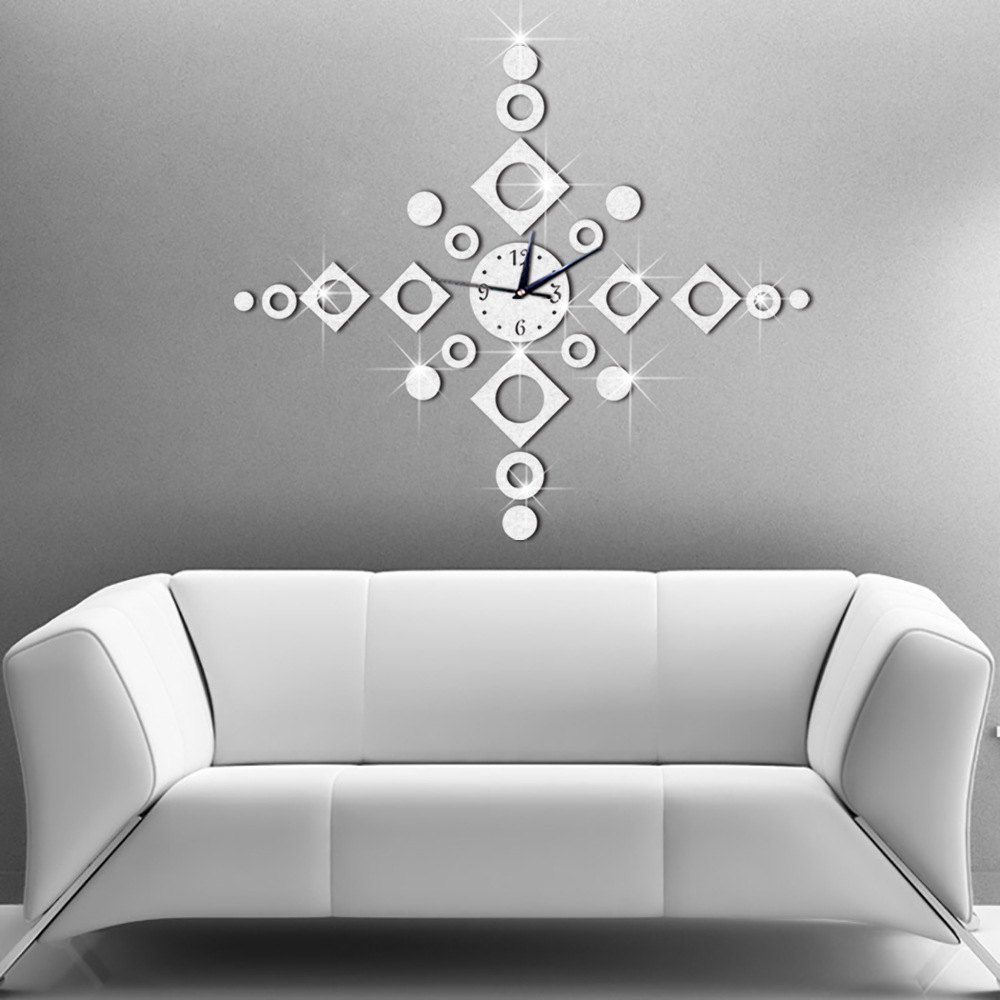 Modern Solid Geometry Silent Wall Clock Study Bedroom Living Room Background Wall Home Decoration Stickers Posters Art DIY in Wall Stickers from Home Garden