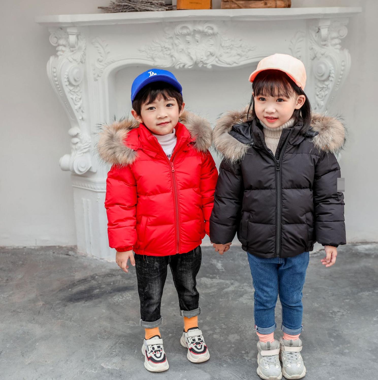 Купить с кэшбэком 2019 Kids Cotton Jacket Winter Children clothes red/black Coats Kids Outerwear boys girls white duck down Coat Down Jackets