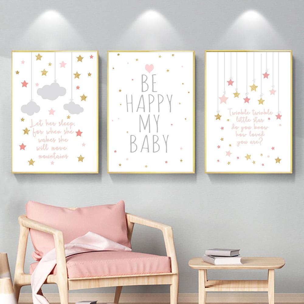 Cartoon Moon Stars Canvas Poster Nursery Quotes Wall Art Print Baby Room Decor