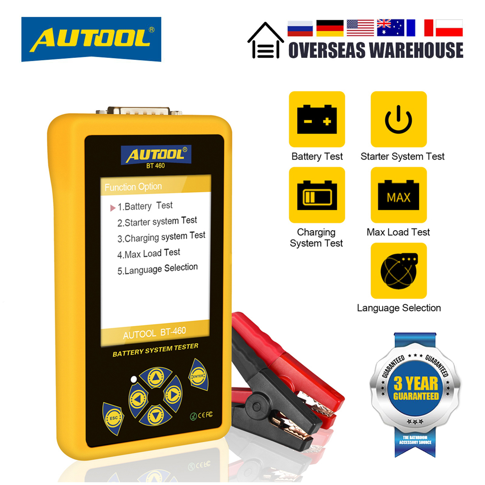 AUTOOL BT460 Car Battery Tester 12V 24V Multifunction Battery Charging System Analyzer Test With 4inch Colorful Display for Car