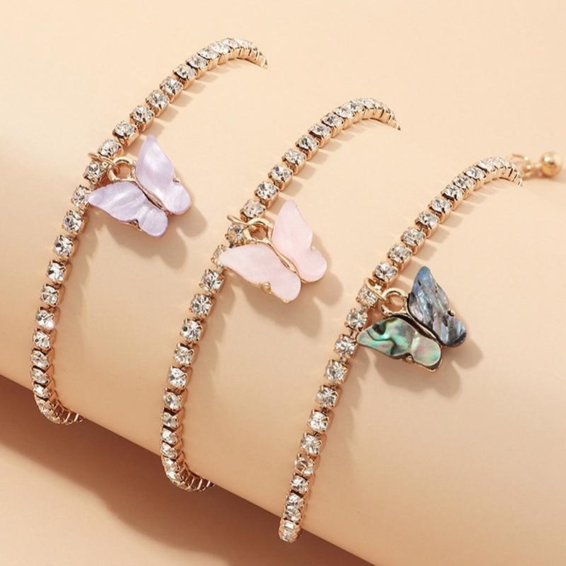 3pcs/set Butterfly Tennis Anklet Rhinestone Jewelry For Women Crystal Butterfly Pendant Anklet Beach Foot Chain Bracelet