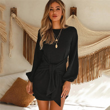 New 2019 Fashion Sashes Autumn Dress Solid O-Neck Long Sleeve Women Dress Plus Size Loose Casual Vestidos Female A-Line Robe цены