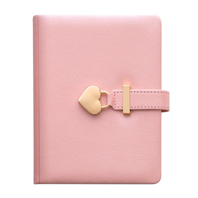 Kawaii Cute Personal Diary with Heart Lock PU Leather B5 Notebook School Supplies Lockable Password Writing Pads Girl Women Gift