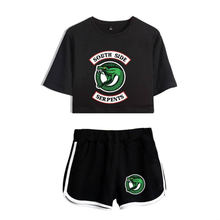 Hot Sale Riverdale female shirt set two pieces summer sexy printed t shirt sport suit crop shorts tops + shorts pajamas jogger