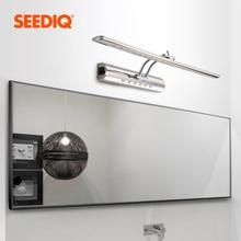 Led ayna ön işık banyo lambası 7W 9W AC 90 265V paslanmaz çelik su geçirmez Vanity aydınlatma armatürleri duvar lambası anahtarı ile