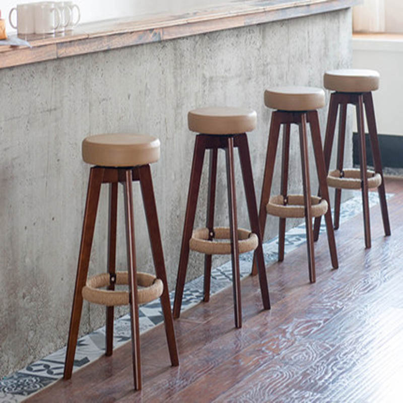 Bar Stools European Style Modern Minimalist Rotatable Solid Wood Seat Height 65.5/74 CM High Stool Bar Family Business Cafe