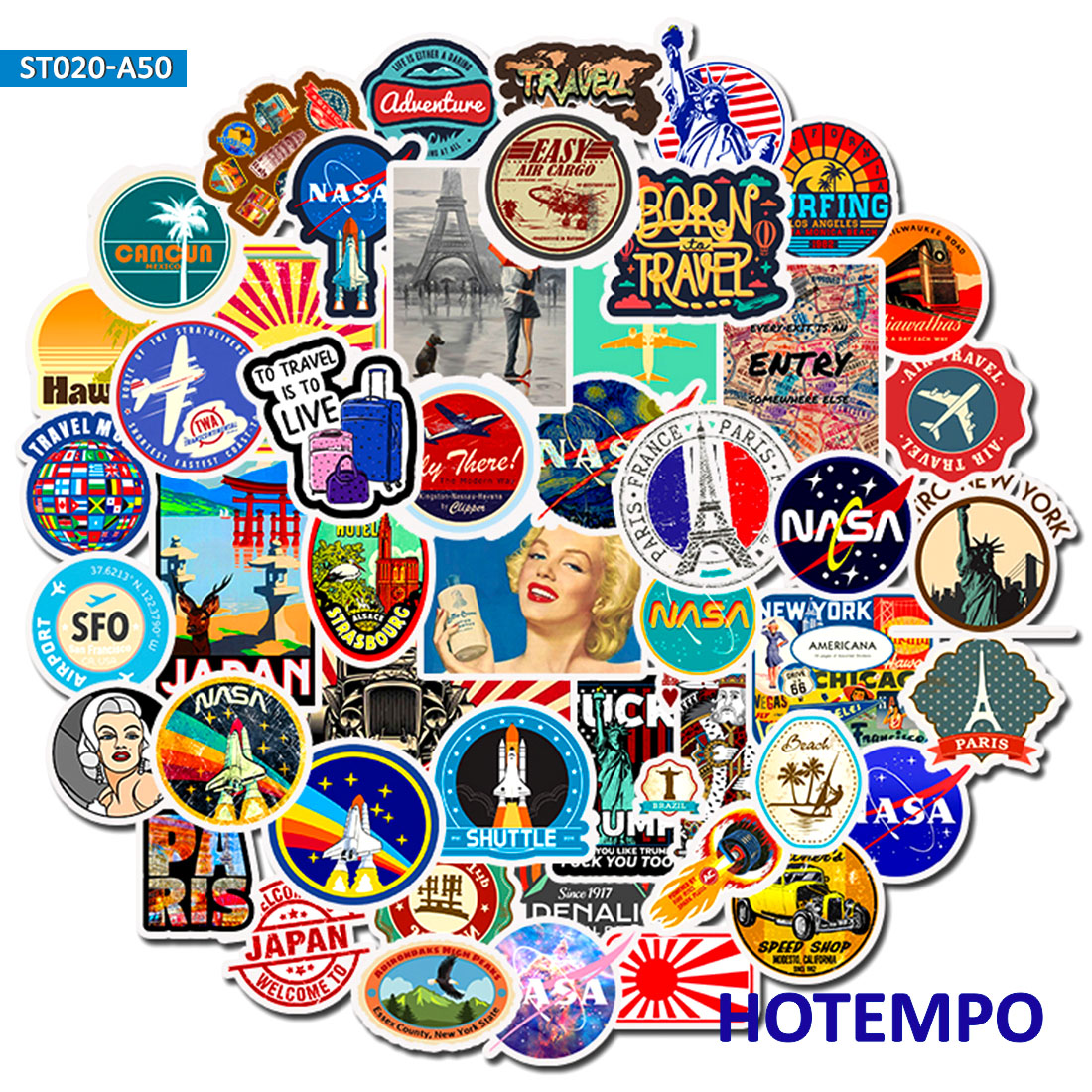 50pcs Travel Decorative Adhesive Stickers DIY Mobile Phone Laptop Luggage Suitcase Guitar Skateboard Fixed Gear Decal Stickers