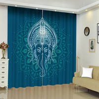Blackout Animal Curtain Elephant Window Curtain for Kids Room Boys Room Window Drapes Cartoon Bohemian Lotus Window Treatment