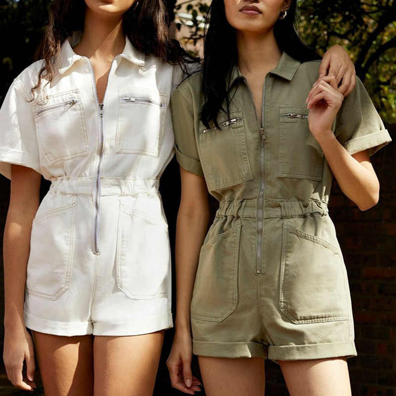 Vrouwen Casual Zomer Rits Romper Hoge Taille Overall Groen Jumpers Revers Pocket Shorts Jumpsuit Playsuit Bodysuits