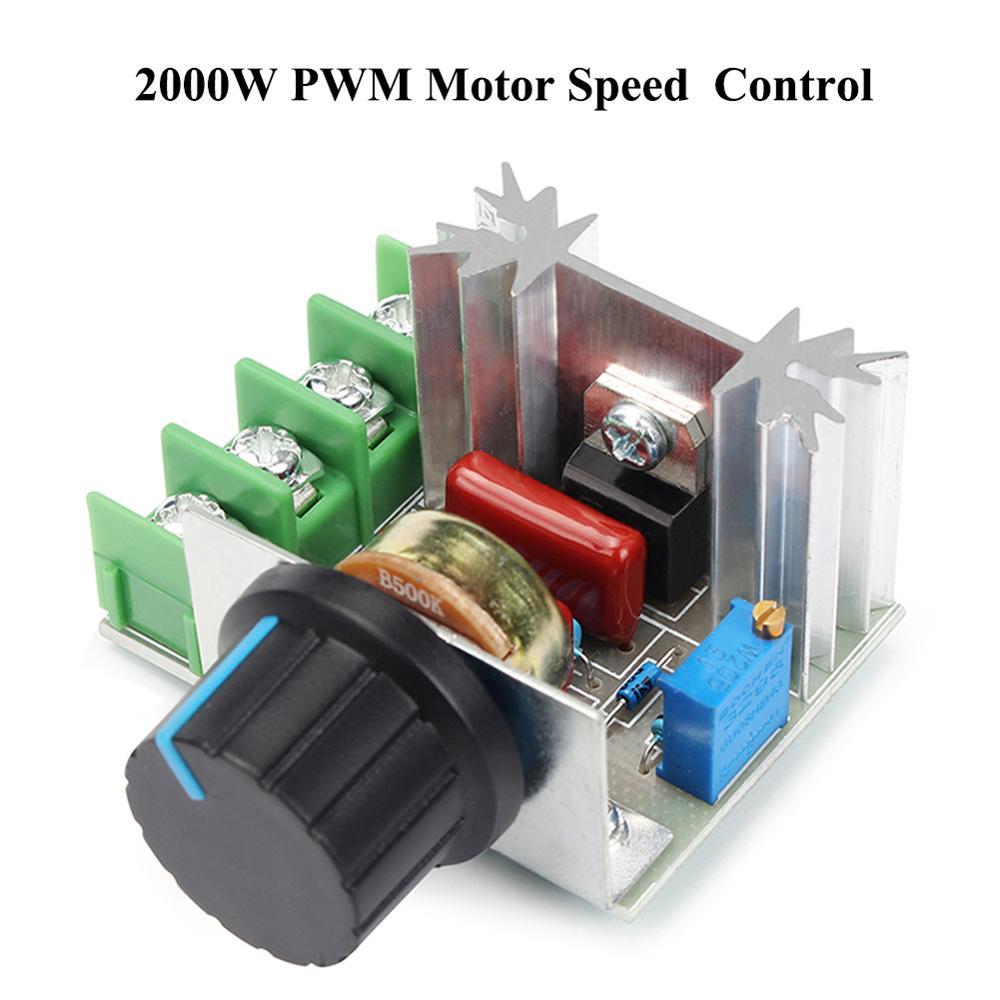 Контроллер скорости переменного тока 50-220 В, 2000 Вт, 25 А, контроллер двигателя SCR, высокомощный электронный модуль регулятора напряжения, освещение двигателя