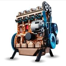 Полная металлическая сборка четырехцилиндровый встроенный бензиновый автомобильный двигатель модель строительные наборы для подарочных игрушек