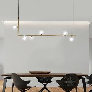 Image 3 - 북유럽 미니멀리스트 디자인 유리 공 샹들리에 크리 에이 티브 아트 분자 홀 거실 레스토랑 서스펜션 전등