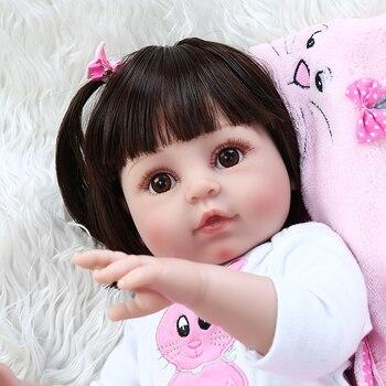 NPK DOLL 48cm Boneca Bebe Reborn Dolls soft Full Silicone Reborn Baby Doll In pink rabbit clothing Bebe Reborn girl Dolls