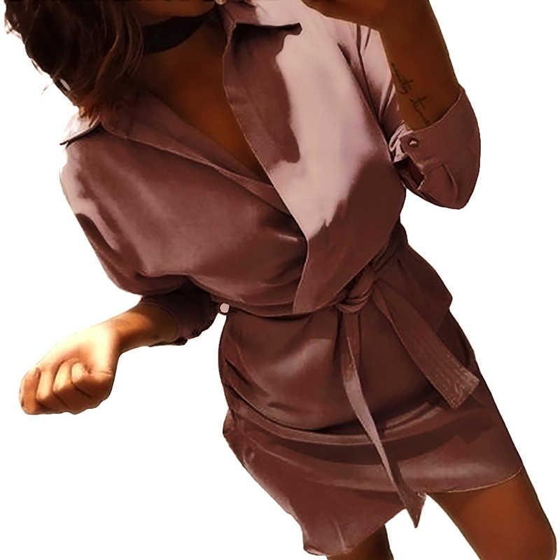2019 осеннее платье с поясом женское Асимметричное мини с длинным рукавом женское платье-рубашка повседневная черная футболка Сексуальное Платье Женское vestidos CDR961