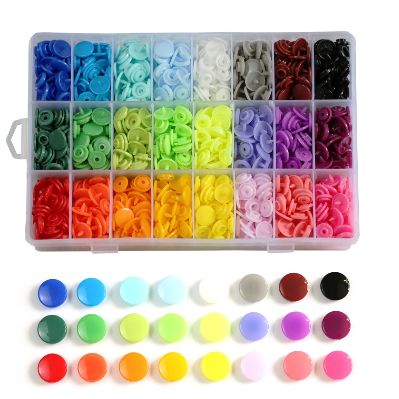 600/1440pcs 15/24 Colors T5 Snap Poppers Plastic Nylon Buttons Children's Buttons Kit for Baby Dolls Clothes Sewing Accessories