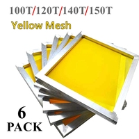 6pcs Aluminium Screen Printing Frame Stretched With 120T/140T/150T Silk Print Polyester Yellow Mesh for Printed Circuit Board