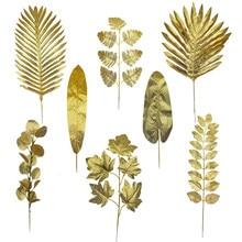 5 Stück Gold Palmblätter Künstliche Pflanzen Seide Ahornblatt für Home Wedding Party Dekoration Blumenarrangement Vase Ornament