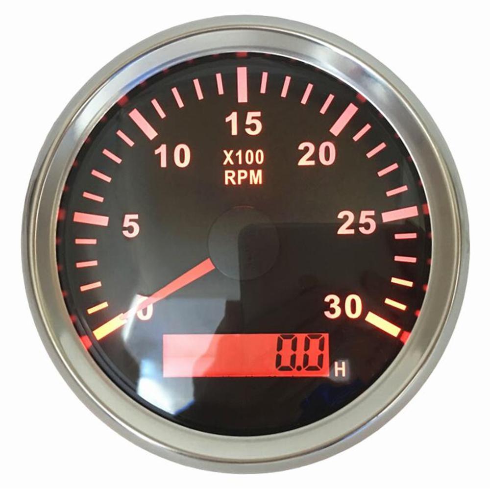 1шт 85-миллиметровый дизельный двигатель тахометра 0-3000 об. / Мин. Счетчики числа оборотов 9-32vdc SUS316L Безель Подходит для автоматической лодки с красной подсветкой