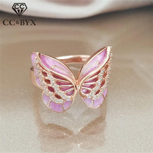 CC Rings For Women Butterfly Trendy Jewelry Cubic Zirconia Creative Animal Shaped Ring Party Bijoux Femme Drop Shipping CC2321