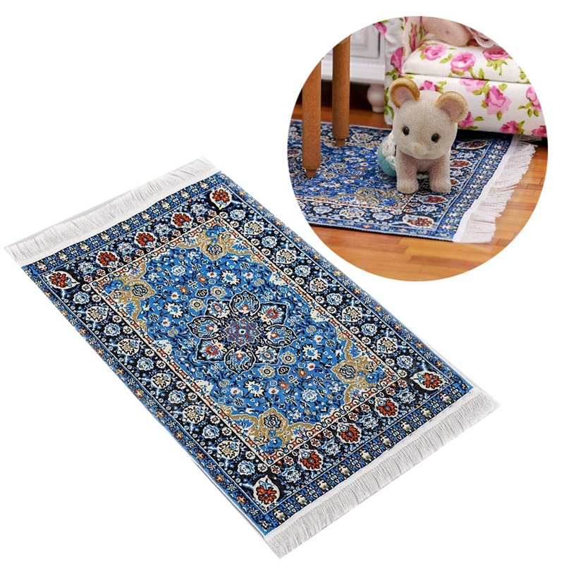 1:12 Doll House Miniature Carpet Imported Carpet Toy Blue Star Mat Embroidery Carpet Weaving Floral Carpet For Living Room Doll