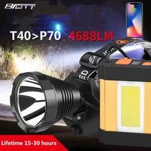 المصباح كري xhp70 سوبر T40 T20 رئيس مصباح التخييم الصيد البناء العمل قابلة للشحن دراجة رئيس الشعلة led